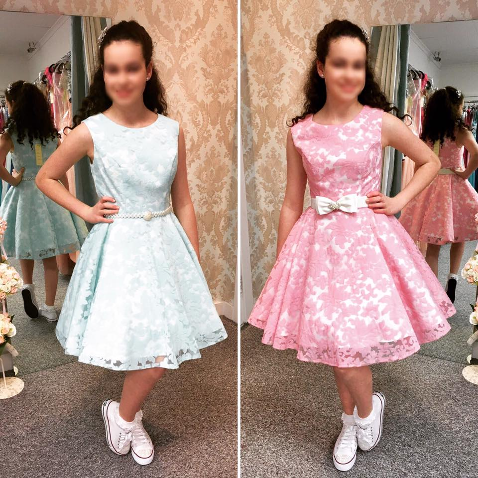 At the Sisters we guarantee a one to one service for each child, our staff will help you in selecting the perfect dress, and will help with hair style and selection of .